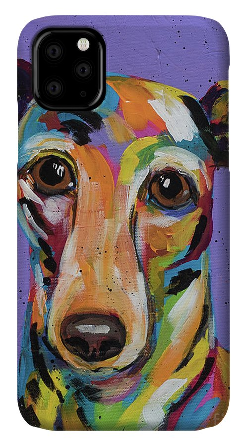 Tracy Miller IPhone 11 Case featuring the painting Italian Greyhound by Tracy Miller
