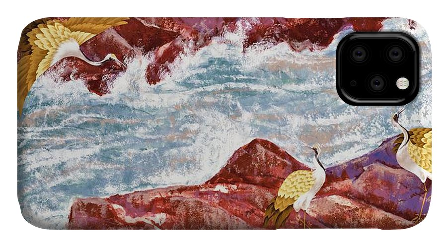 Crane IPhone 11 Case featuring the painting Japanese Modern Interior Art #135 by ArtMarketJapan