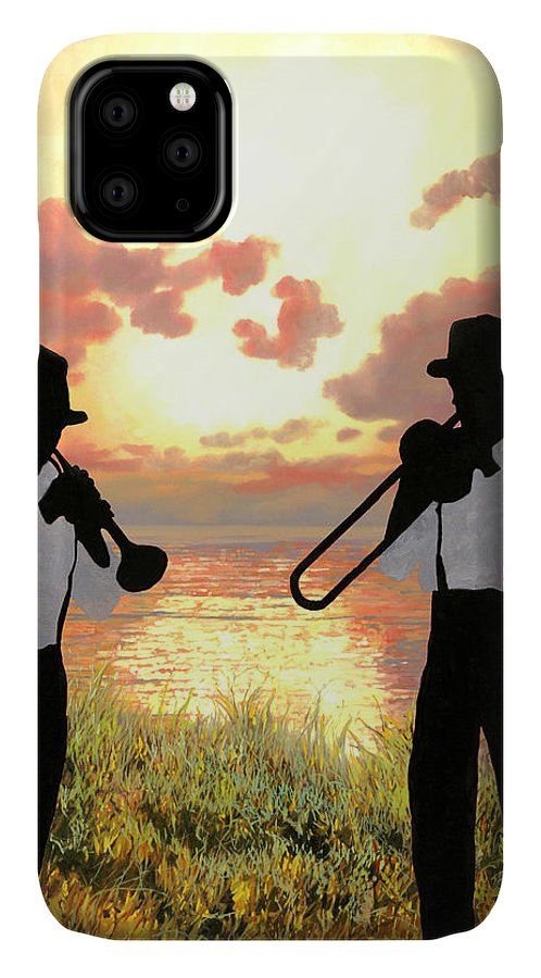 Jazz IPhone Case featuring the painting Jazz Al Tramonto by Guido Borelli