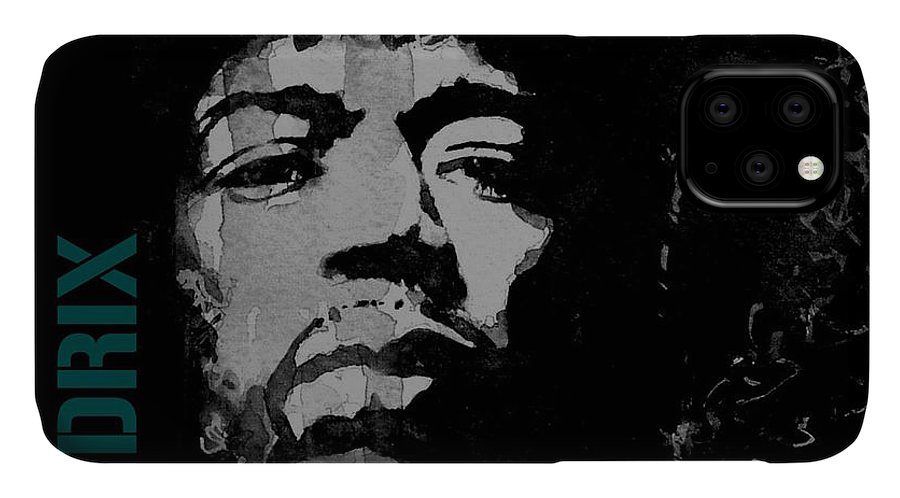 Jimi Hendrix IPhone Case featuring the mixed media Jimi Hendrix - Retro Black by Paul Lovering