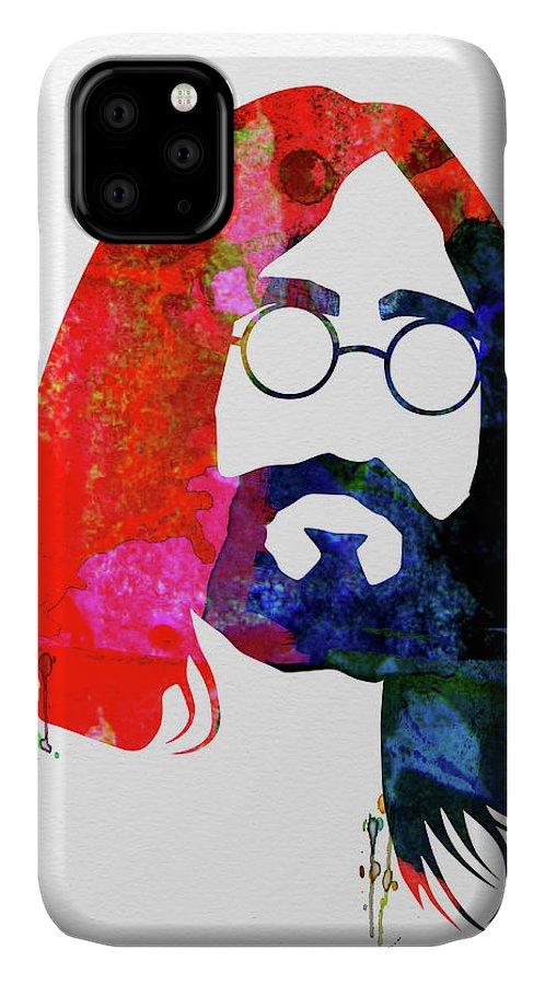 John Lennon IPhone Case featuring the mixed media John Watercolor by Naxart Studio