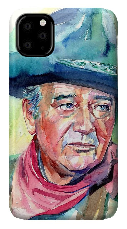 John IPhone 11 Case featuring the painting John Wayne Portrait by Suzann Sines