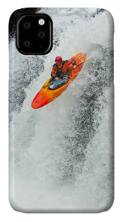 Play IPhone Case featuring the photograph Kayaker Jumping From A Waterfall by Ivan Chudakov