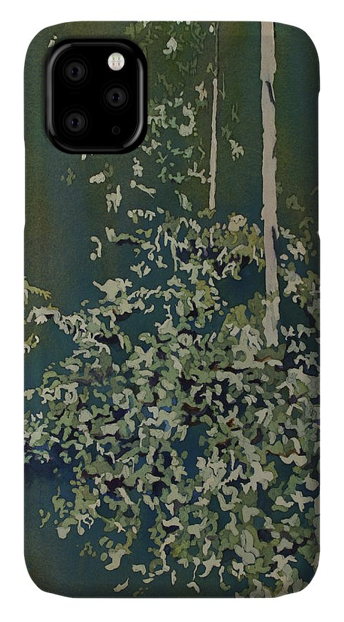 Forest IPhone 11 Case featuring the painting Lacy Edge by Jenny Armitage