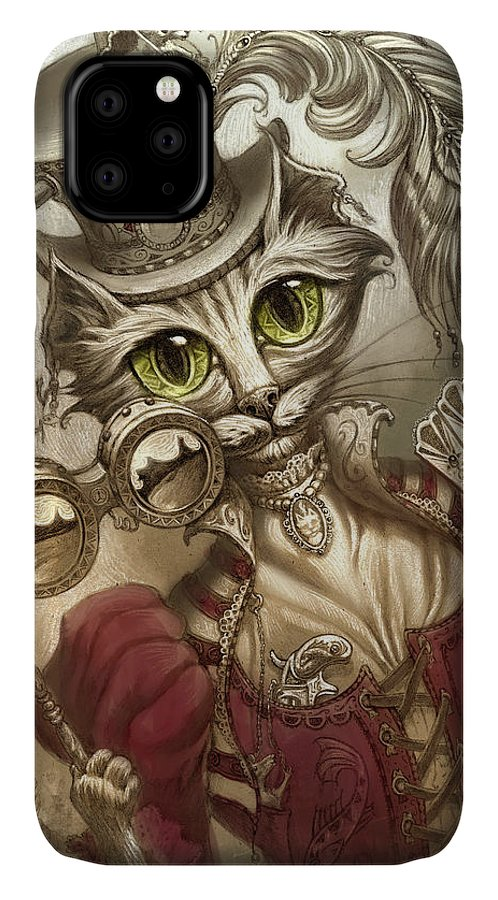 Steampunk IPhone Case featuring the painting Lady Steam by Jeff Haynie