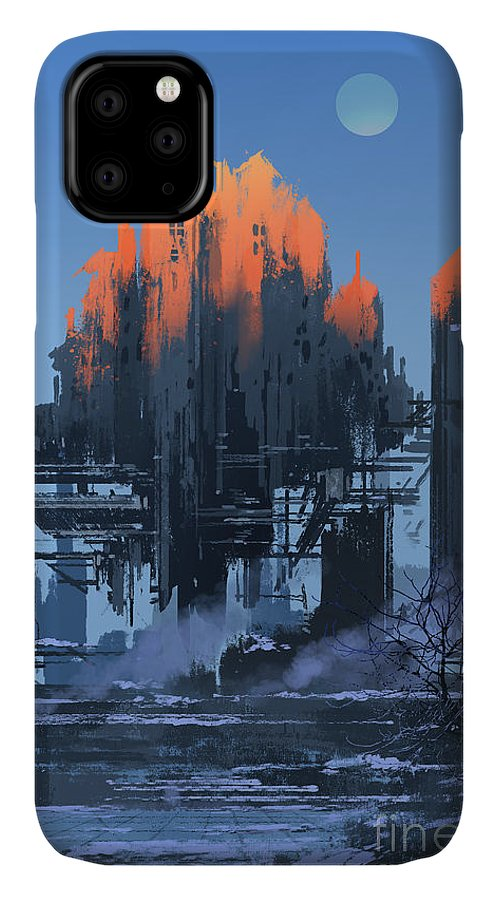 Fi IPhone 11 Case featuring the digital art Landscape Painting Of Abandoned by Tithi Luadthong
