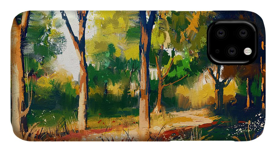 Forest IPhone Case featuring the digital art Landscape Painting Of Beautiful Summer by Tithi Luadthong