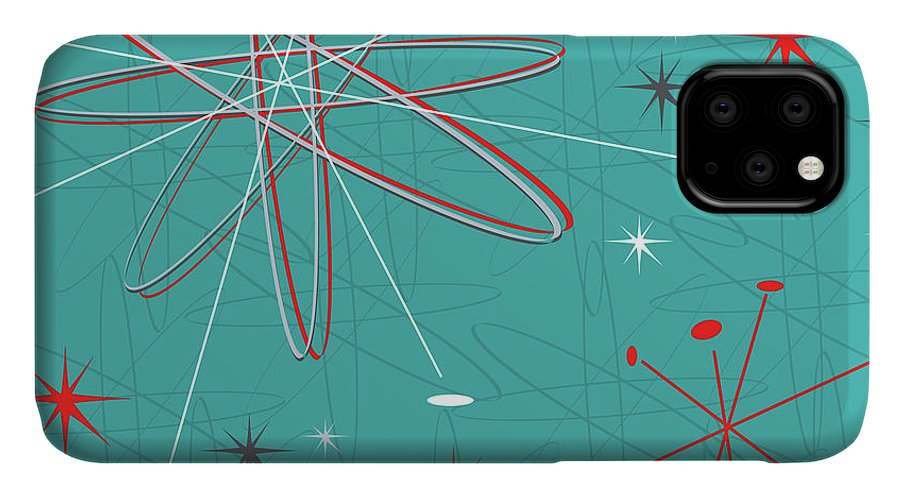 Green IPhone 11 Case featuring the digital art Large Vector Illustration, Reminiscent by April Turner