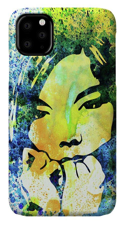 Bjork IPhone Case featuring the mixed media Legendary Bjork Watercolor II by Naxart Studio