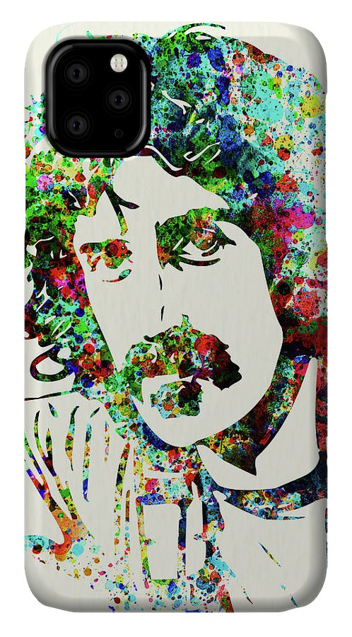 Frank Zappa IPhone Case featuring the mixed media Legendary Frank Zappa Watercolor by Naxart Studio