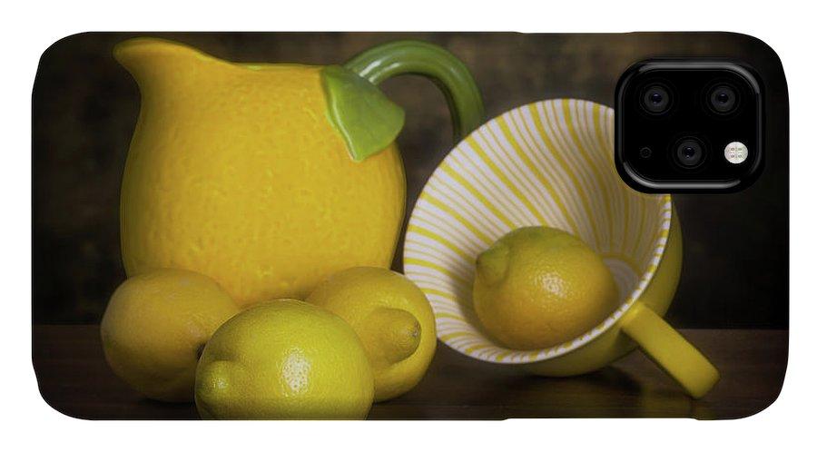Lemon IPhone Case featuring the photograph Lemons With Lemon Shaped Pitcher by Tom Mc Nemar