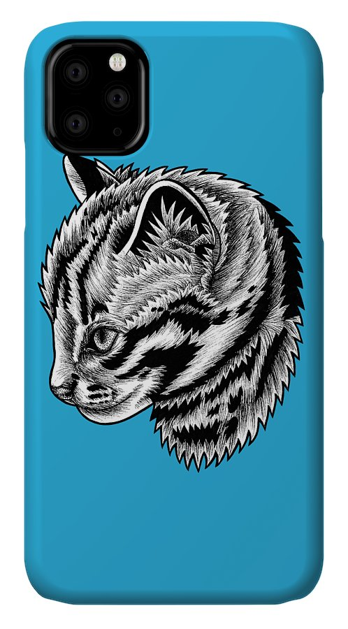 Leopard IPhone Case featuring the drawing Leopard cat kitten - ink illustration by Loren Dowding