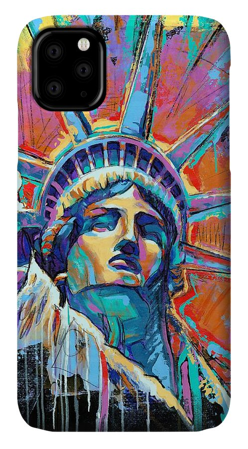 New IPhone 11 Case featuring the painting Liberty In Color by Damon Gray