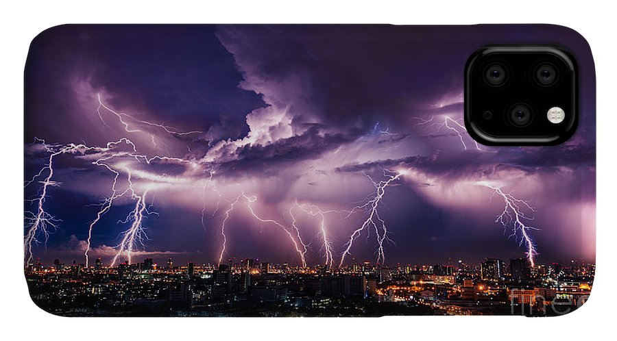 Flare IPhone Case featuring the photograph Lightning Storm Over City In Purple by Vasin Lee