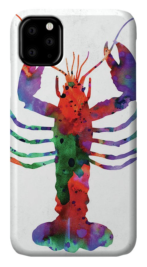 Lobster IPhone Case featuring the digital art Lobster Colorful Watercolor by Mihaela Pater