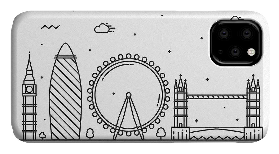 London IPhone Case featuring the drawing London Cityscape Travel Poster by Inspirowl Design