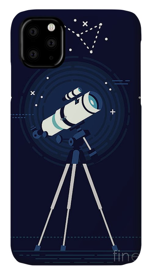 Big IPhone 11 Case featuring the digital art Lovely Vector Background On Astronomy by Mascha Tace