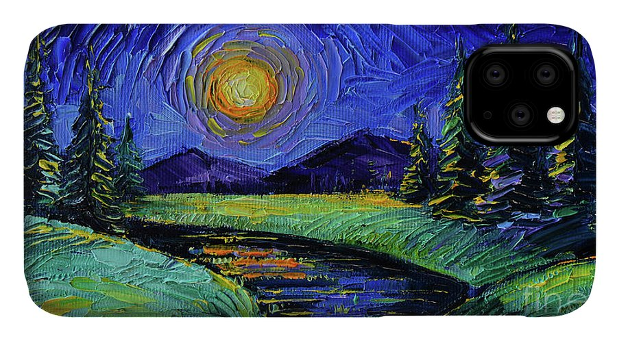 Magic Night IPhone 11 Case featuring the painting Magic Night - Detail 1 - Fantasy Landscape by Mona Edulesco