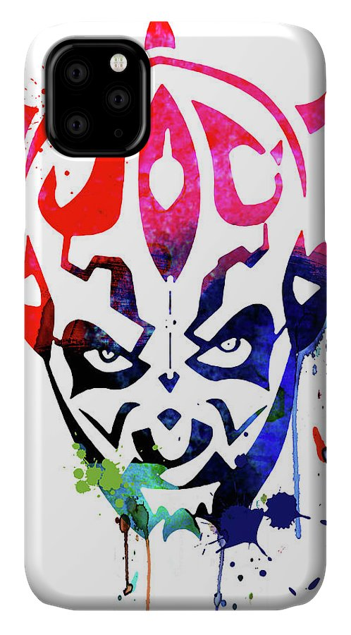 Maul IPhone 11 Case featuring the mixed media Maul Cartoon Watercolor by Naxart Studio