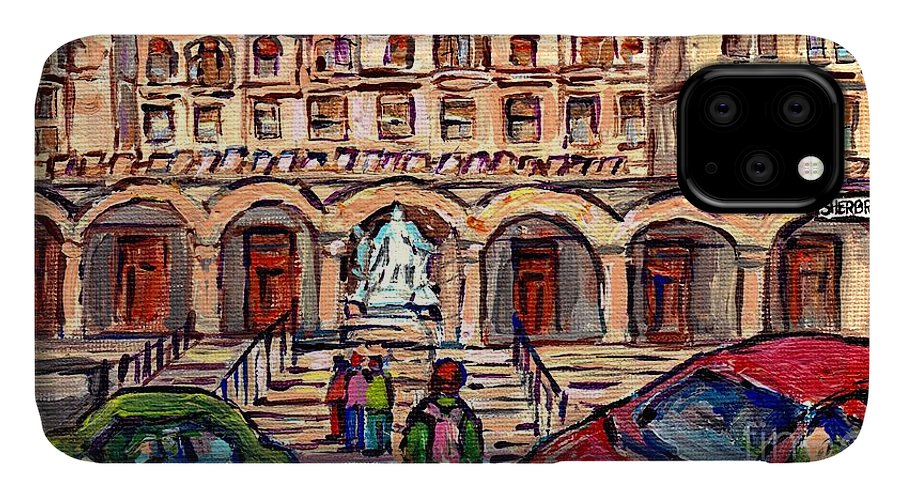 Mcgill University IPhone Case featuring the painting Mcgill University Strathcona Music Building Painting Queen Victoria Statue Sherbrooke C Spandau Art by Carole Spandau