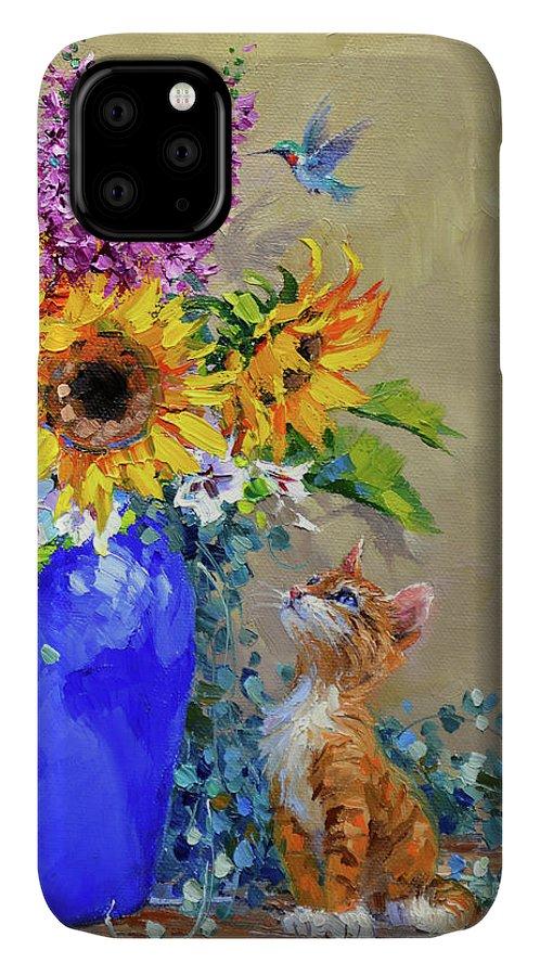 Kitten IPhone Case featuring the painting Mesmerized by Mikki Senkarik