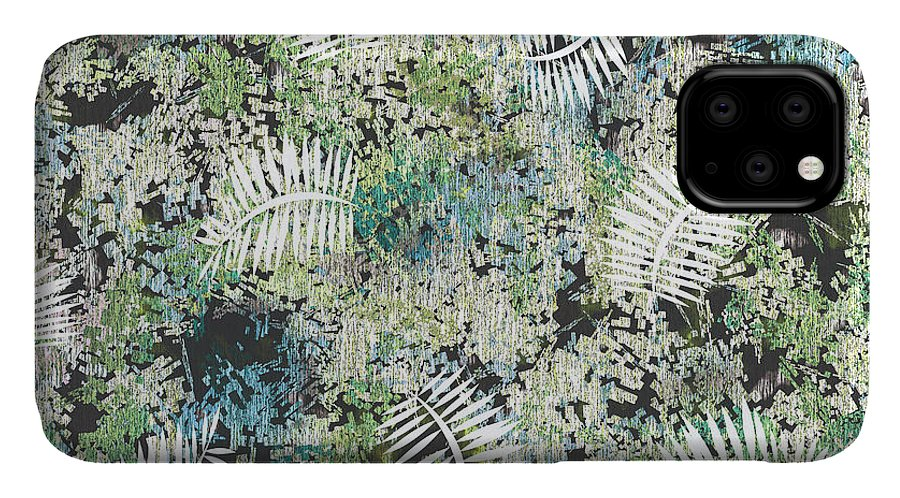 Clover IPhone Case featuring the digital art Mix Fiber Texture Pattern With Tropical Leaves by Anita Morya