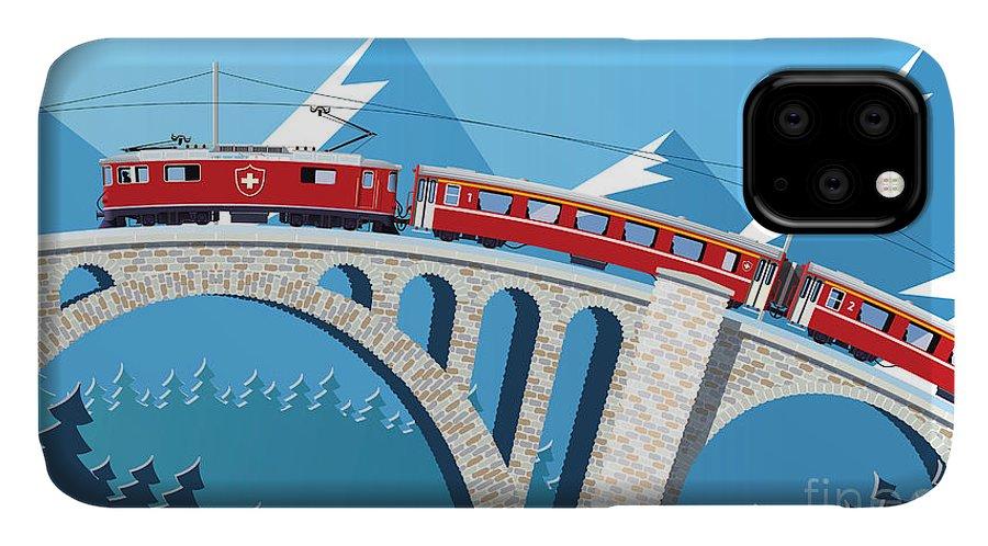 Illustrations IPhone Case featuring the digital art Mountain Train On The Bridge Through by Nikola Knezevic