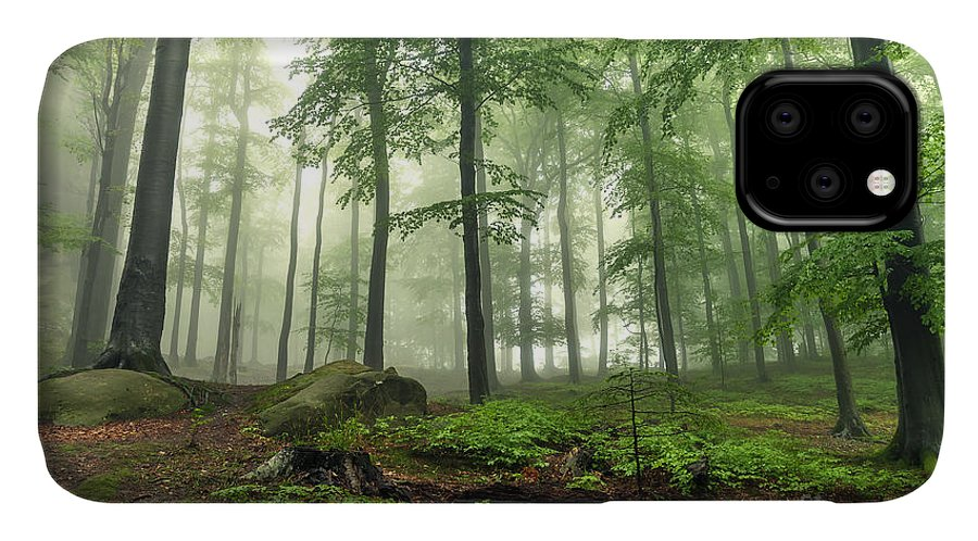 Forest IPhone 11 Case featuring the photograph Mystical Foggy Forest On The Slope by Kritskiy-ua