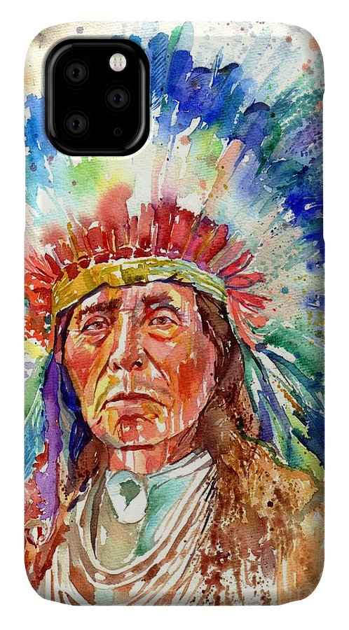 Iowa IPhone Case featuring the painting Native American Chief by Suzann Sines