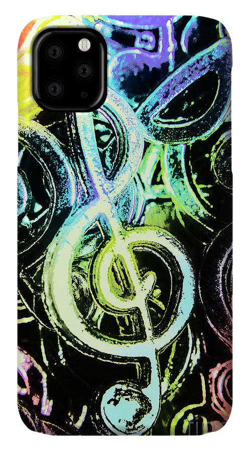 Funky IPhone 11 Case featuring the photograph Neon Notes by Jorgo Photography - Wall Art Gallery