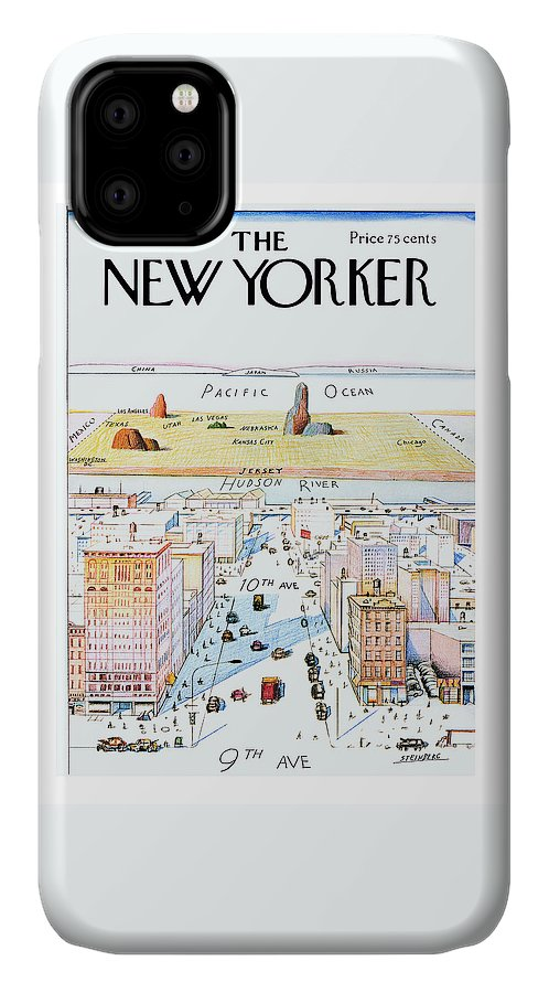 #condenastnewyorkercover IPhone 11 Case featuring the painting New Yorker March 29, 1976 by Saul Steinberg