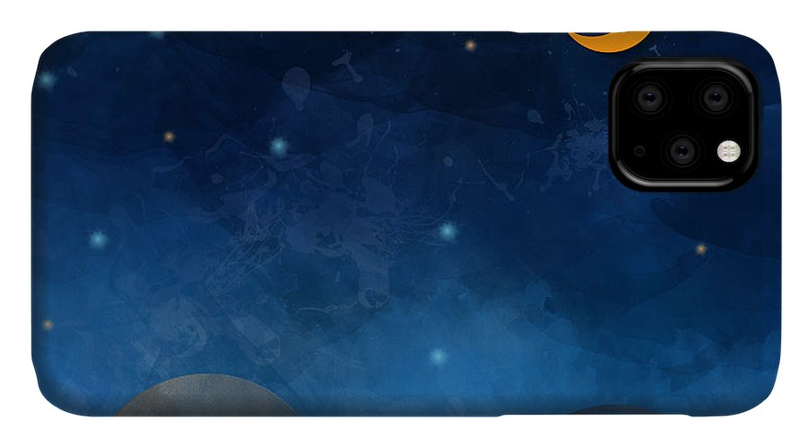 Cut IPhone 11 Case featuring the digital art Night Sky,cloud, Moon And Star - Paper by Pluie r