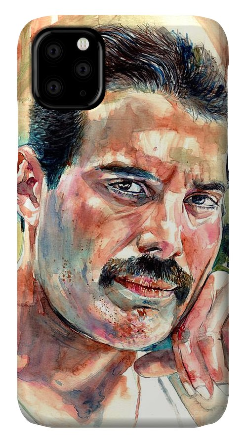 Freddie Mercury IPhone Case featuring the painting No One But You - Freddie Mercury Portrait by Suzann Sines