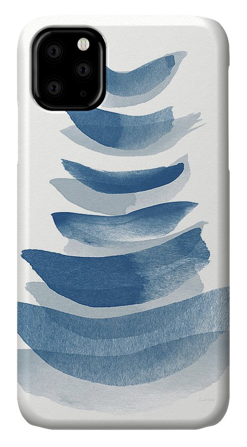 Abstract IPhone 11 Case featuring the mixed media Ocean Zen 2 - Art By Linda Woods by Linda Woods