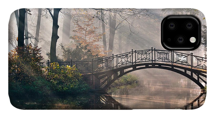 Magic IPhone Case featuring the photograph Old Bridge In Autumn Misty Park - Hdr by Gorillaimages