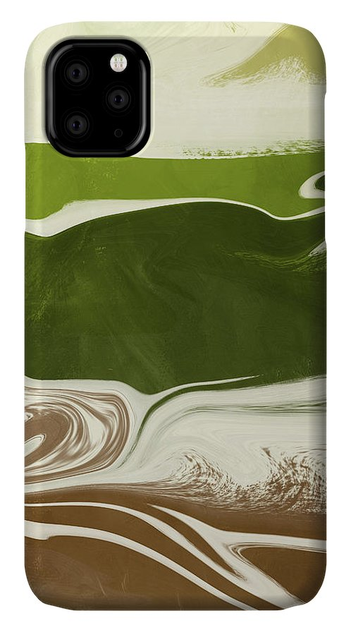 Abstract IPhone 11 Case featuring the mixed media Organic Wave 2- Art By Linda Woods by Linda Woods