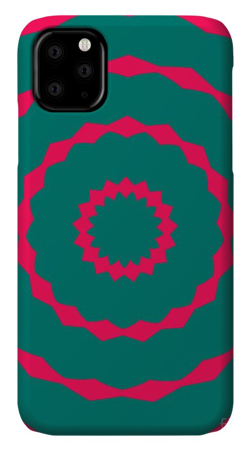 Round IPhone 11 Case featuring the painting Ornament Number Five by Alex Caminker