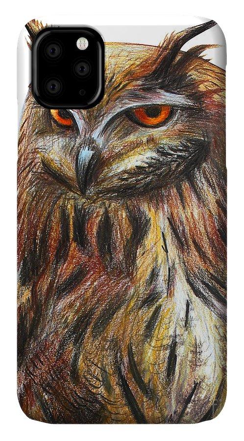Beauty IPhone Case featuring the digital art Owl Portrait Drawing by Viktoriya art