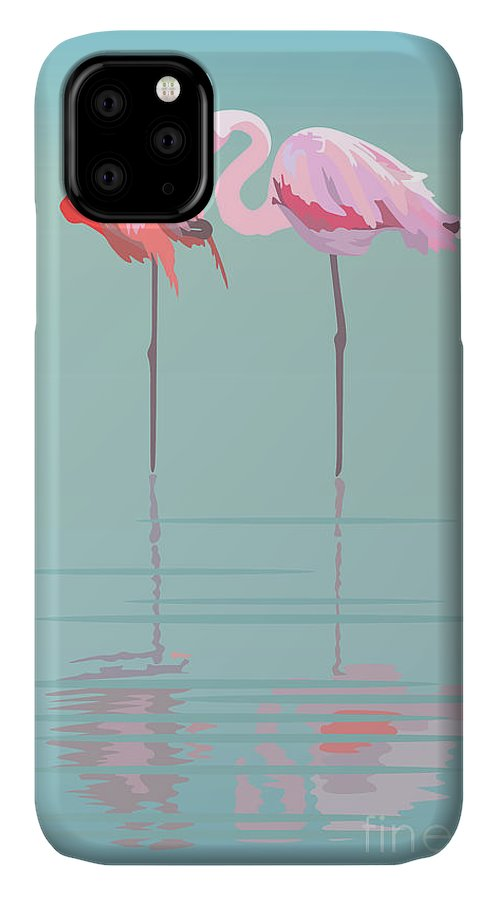 Feather IPhone 11 Case featuring the digital art Pair Of Flamingos In The Pond by Viktoriya Pa