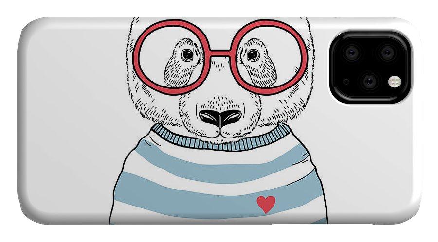 Small IPhone Case featuring the digital art Panda Sailor, Nautical Poster, Hand by Olga angelloz