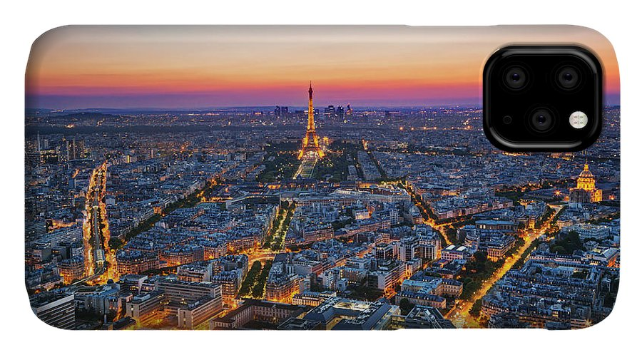 Symbol IPhone Case featuring the photograph Paris, France At Sunset. Aerial View On by Photocreo Michal Bednarek