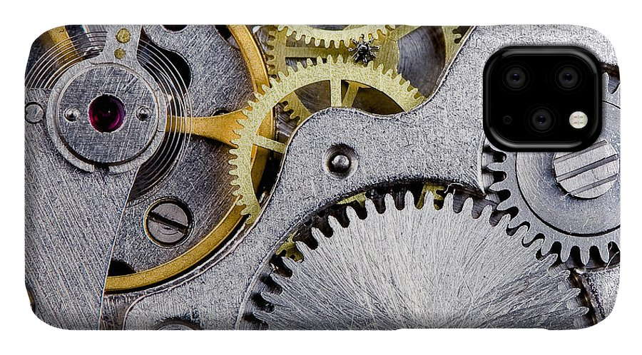 Small IPhone Case featuring the photograph Part Of Clockwork With Gears, Spring by Vvoe