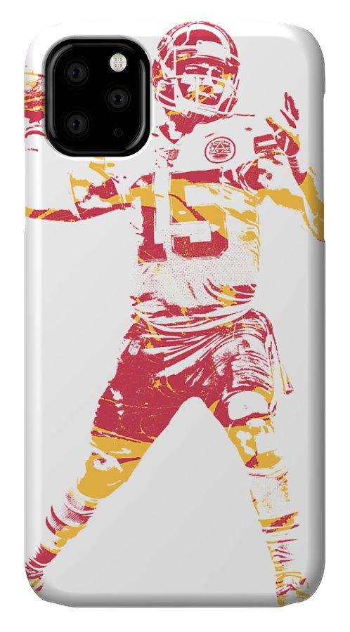 Patrick Mahomes Chiefs IPhone 11 Case featuring the mixed media Patrick Mahomes Kansas City Chiefs Apparel T Shirt Pixel Art 1 by Joe Hamilton
