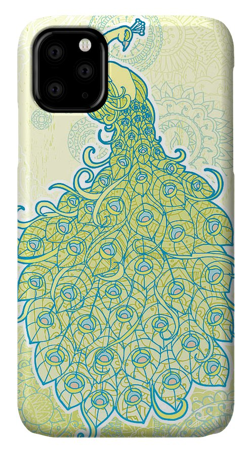 Grunge IPhone Case featuring the digital art Peacock With Tail Feathers In Front Of by Artplay