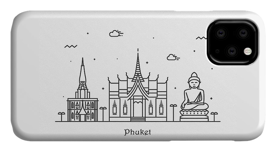 Phuket IPhone Case featuring the drawing Phuket Cityscape Travel Poster by Inspirowl Design