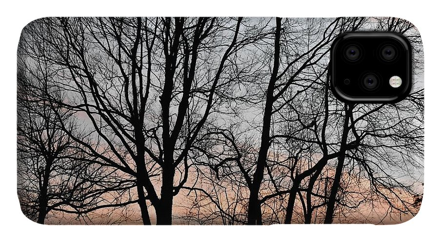 Trees IPhone 11 Case featuring the photograph Pink Sky by Cassidy Marshall