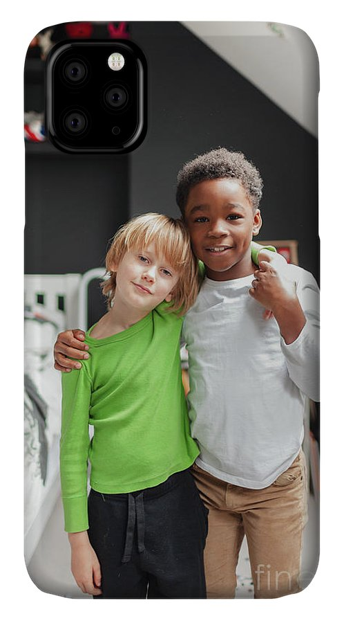 4-5 Years IPhone Case featuring the photograph Portrait Boy Friends Hugging by Caia Image/science Photo Library