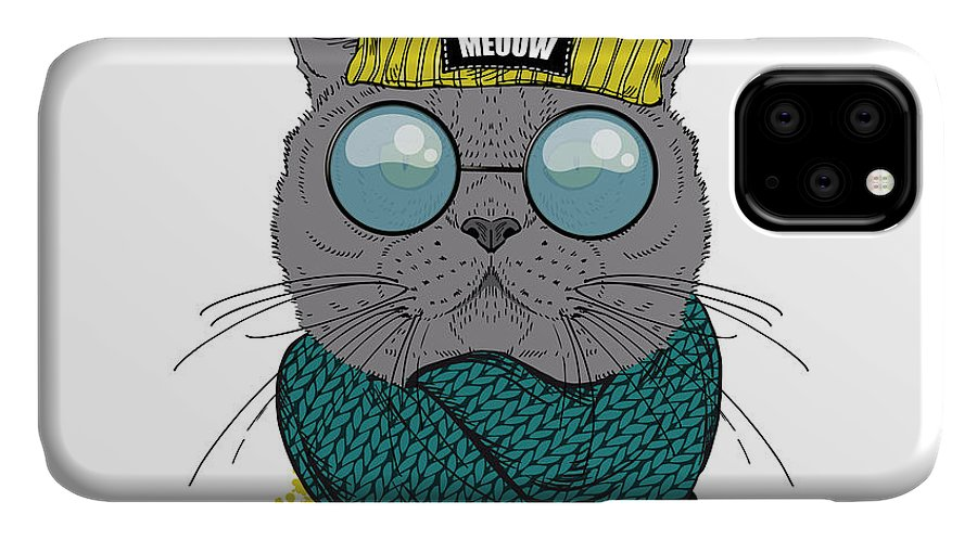 Fancy IPhone Case featuring the digital art Portrait Of British Shot Hair Cat by Olga angelloz