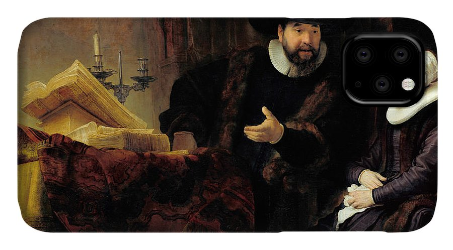 Rembrandt IPhone Case featuring the painting Portrait Of The Mennonite Preacher, Cornelius Claesz Anslo And His Wife, Aaltje Gerritsdr Shouten, 1 by Rembrandt Harmensz van Rijn