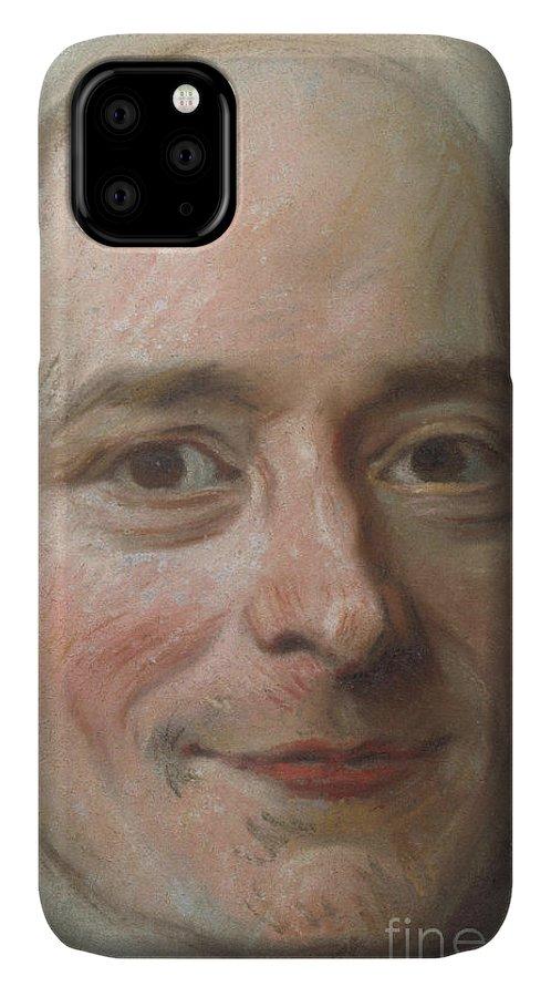 Voltaire IPhone Case featuring the pastel Portrait Of Voltaire, Circa 1750 by Maurice Quentin de la Tour